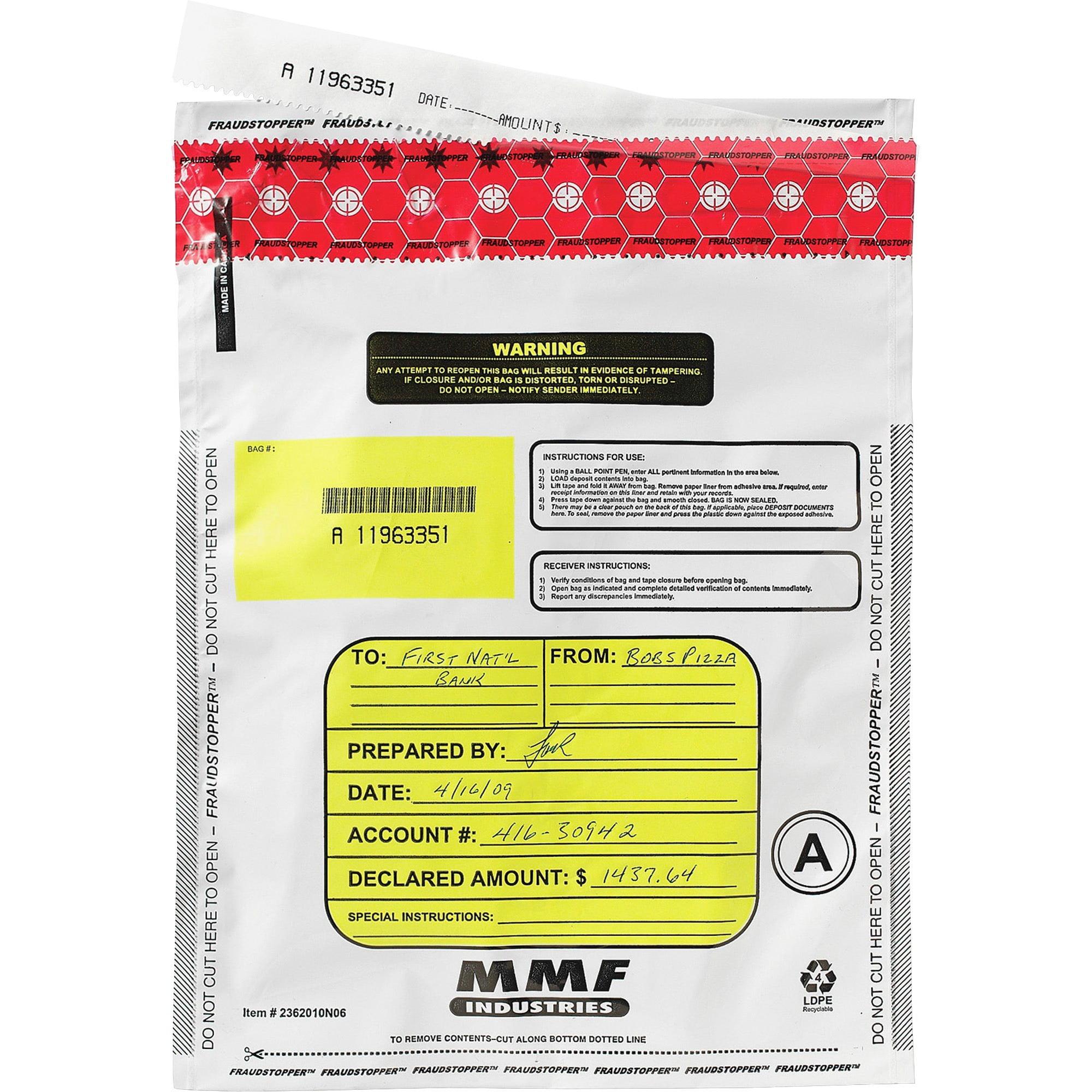 MMF, MMF2362011N06, Tamper-Evident Deposit Bags, 100 / Box, White