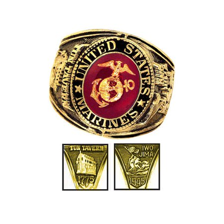 Official US Marines Deluxe Engraved Gold Color Ring