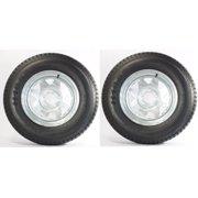 2-Pk Trailer Tire On Rim ST205/75D14 205/75 D 14 in. LRC 5 Bolt Galvanized Wheel