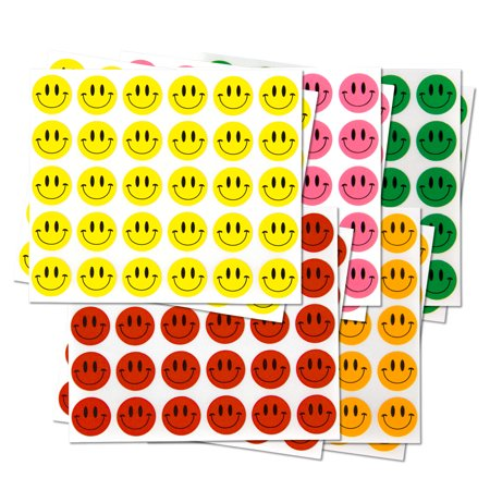 Round Happy Face Stickers (1/2 inch, 300 Stickers per Roll, Assorted Colors, 5 Rolls) for Teachers & Classrooms - Football Face Stickers