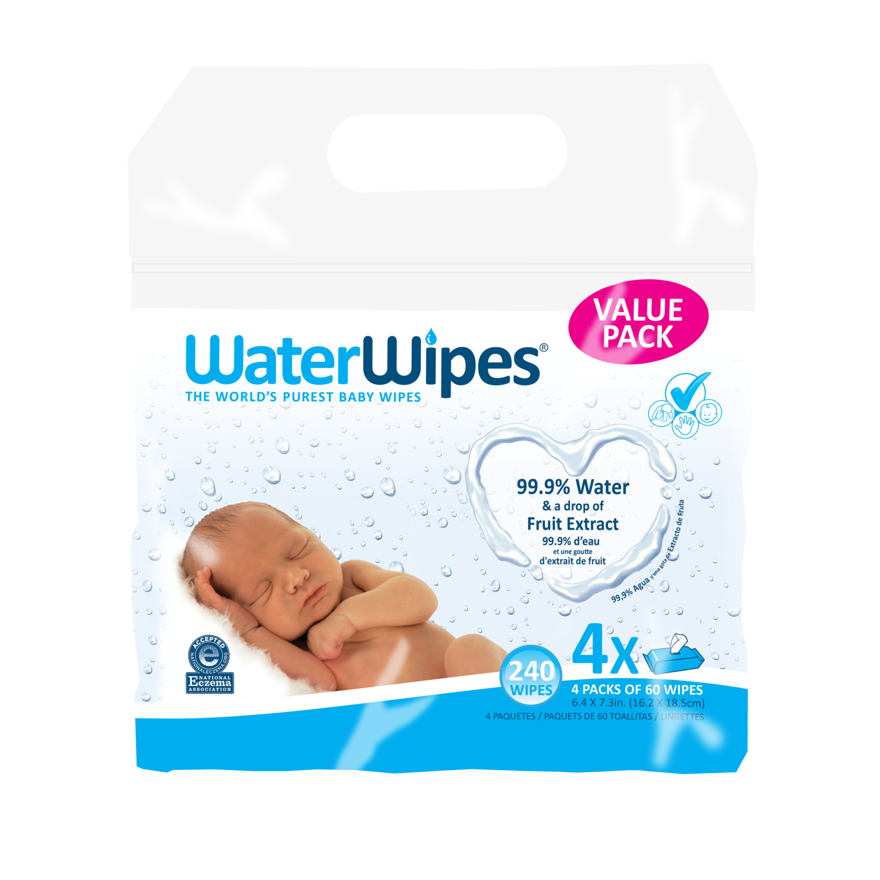 WaterWipes Sensitive Baby Wipes, 4 Packs of 60 (240 count)