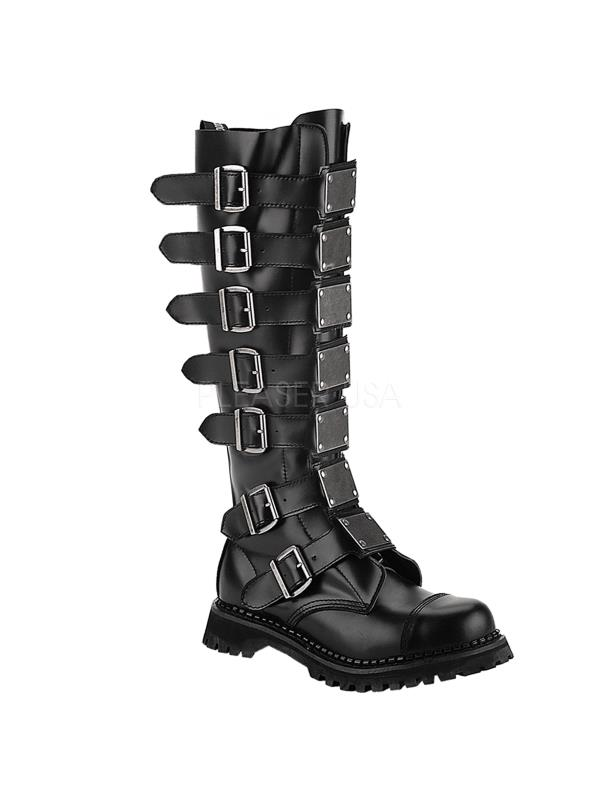 REA30/B/LE Demonia BLACK Leather Shoes & Boots BLACK Demonia Size: 9 d0f841