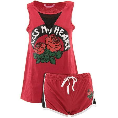 Love Loungewear Juniors Kiss My Heart Red Shorty Valentines Pajamas - Valentines Pajamas