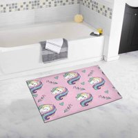 CADecor Unicorn Pop Art on the Pink Background Bath Rug Bathroom Mat Doormat 30x18 inches