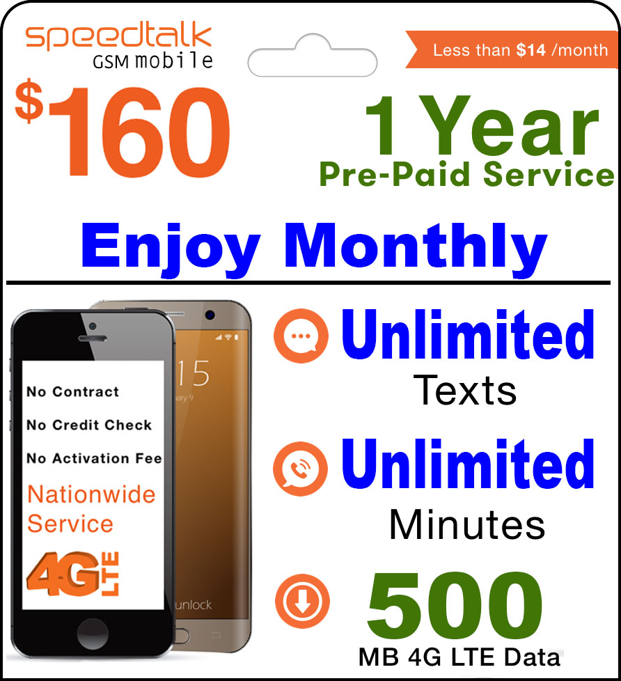 1 Year Prepaid GSM SIM Card - Monthly Unlimited Talk & Text and 500 MB 4G LTE Data No Contract 12 Months Plan