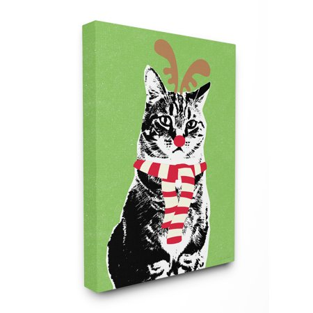 The Stupell Home Decor Collection Holiday Rudolph Unamused Cat Antlers And Striped Scarf Stretched Canvas Wall Art, 16 x 1.5 x - Rudolph Antlers