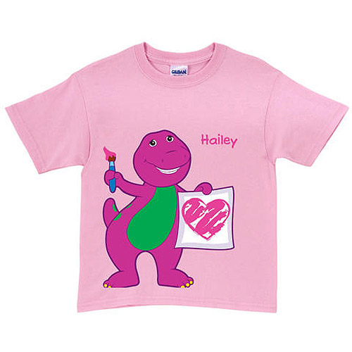 Personalized Barney & Friends Painting Pink Toddler Girl T-Shirt