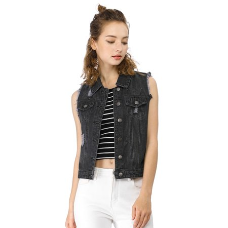 Women Turn Down Collar Button Closure Denim Washed Vest 2