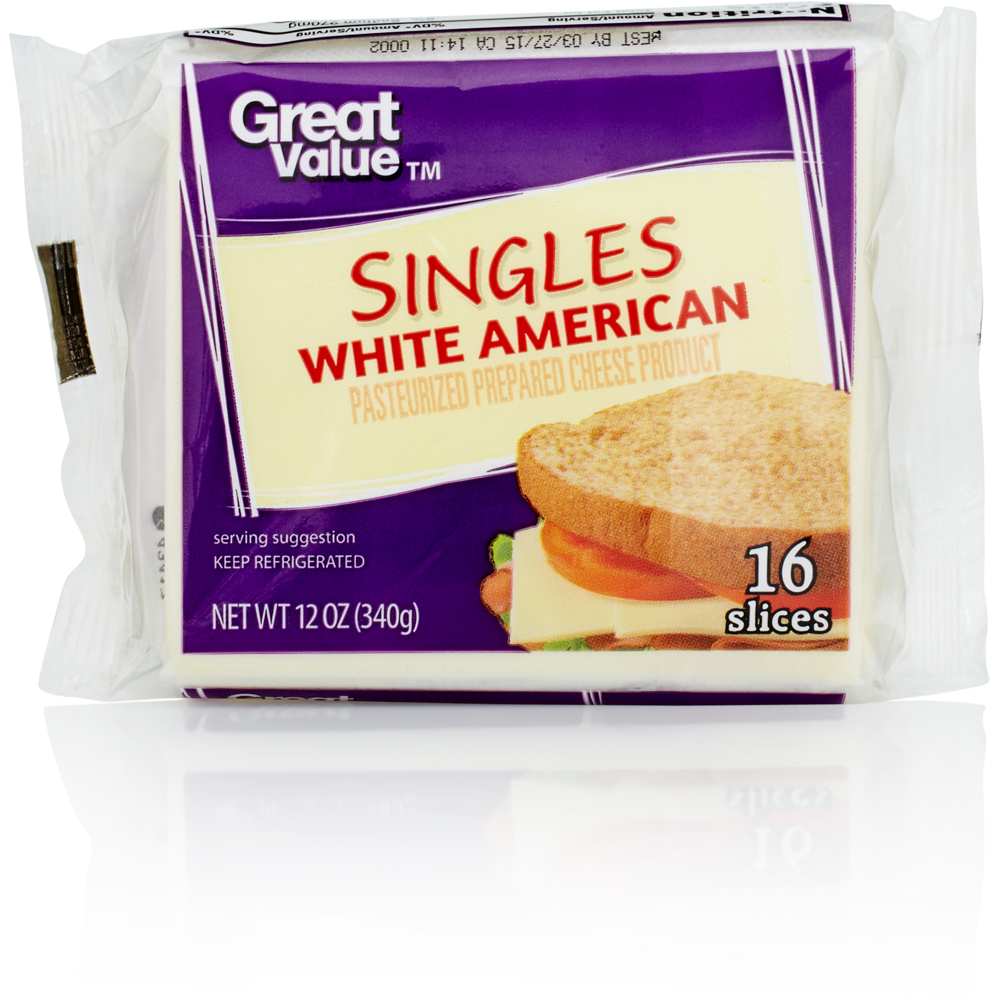 Great Value White American Cheese Product Singles, 12 oz by Wal-Mart Stores, Inc.