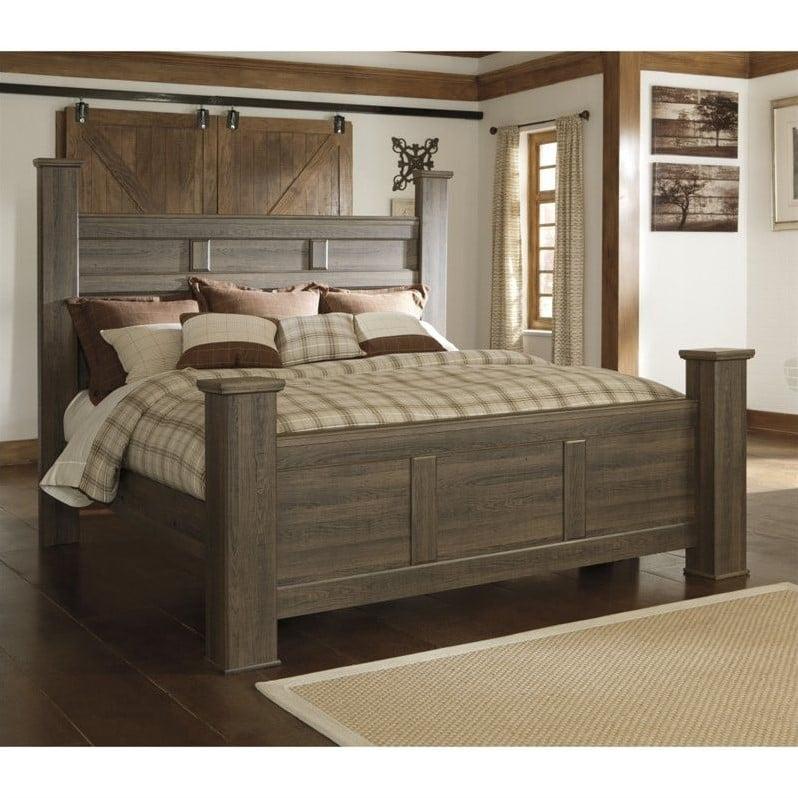 Signature Design by Ashley Furniture Juararo Poster Bed in Dark Brown