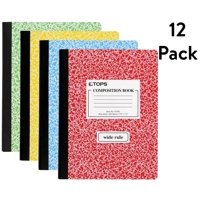 """(12 Pack) TOPS Composition Book, Wide Ruled, 100 Pages, 7.5"""" x 9.75"""" (Color may vary)"""