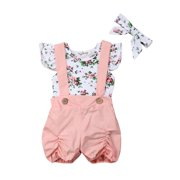 Newborn Baby Girls Floral Print Ruffled Sleeve Romper Onesies Pink Suspender Pants with Headband 3PCS Outfits Set