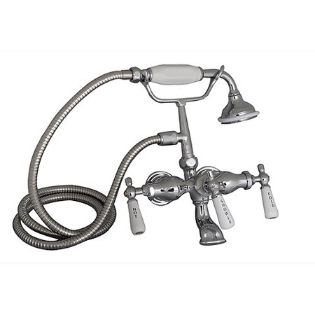 Barclay Leg Tub Wall Mount Faucet with Elephant Spout and Hand Shower (Contemporary Leg Tub)