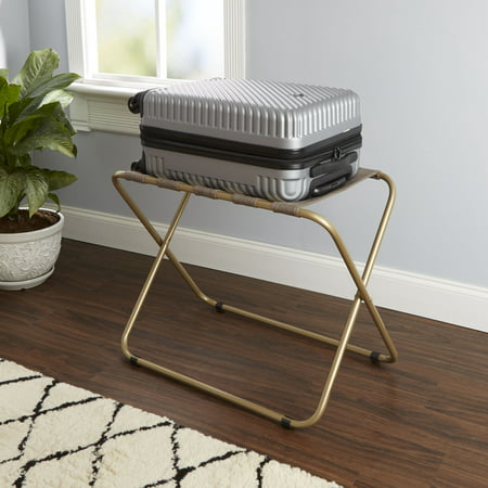 Silverwood Rhys Metal Folding Luggage Rack with Woven Straps, (Straps Luggage Rack)