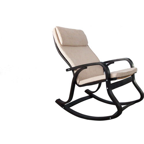 Dorel - Monaco Bentwood Rocking Chair, Espresso and Beige
