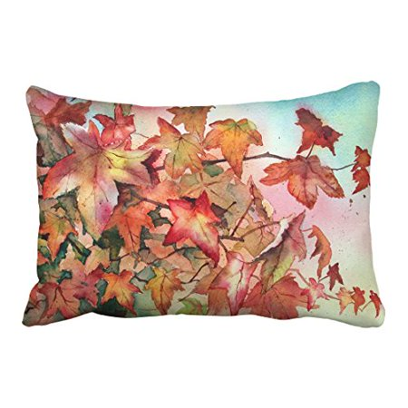 WinHome Red And Yellow Maple Leaves Autumn Fall Leaf Watercolor Drawing Decorative Pillow Cover With Hidden Zipper Decor Cushion Two Side 20x30 inches