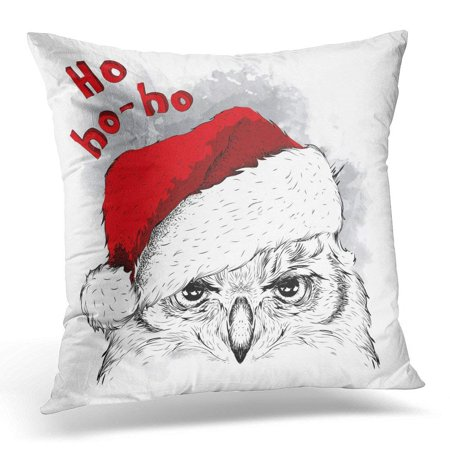 ARHOME Asia The Christmas with Owl Portrait in Santa's Hat Batik Pillow Case Pillow Cover 18x18