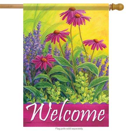 Lavender & Enchinacea Welcome House Flag Flower Spring Decorative Floral 28
