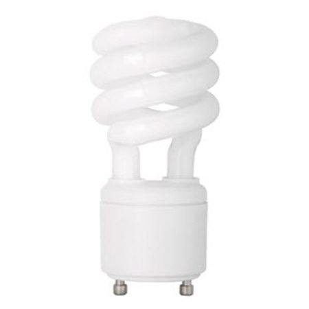 13 Watt - Spiral CFL - 60W Equal - 4100K Cool White - GU24 Base - TCP 33113SP41K Base 4100k Quad Tube