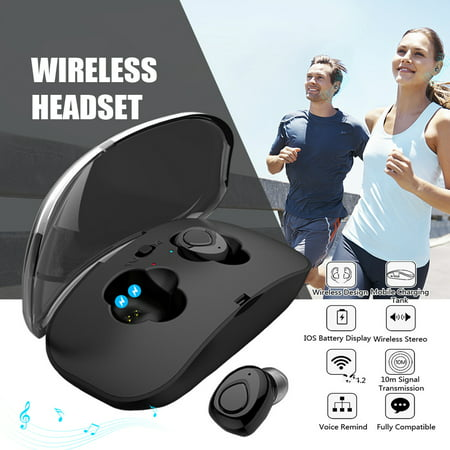 Box Music Gifts And Accessories (TWS Mini Wireless Headphone CVC Noise Cancelling Stereo Audio Music Play Sport In-ear Wireless Earbuds with battery box )