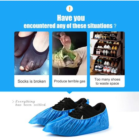 100pcs Disposable Shoe Covers -50 Pairs CPE Disposable Shoe & Boot Covers Waterproof Slip Resistant Shoe Booties - image 1 of 9