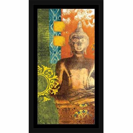 Bright Colorful Patterned with Medallion Buddha Painting Orange & Blue, Framed Canvas Art by Pied Piper Creative