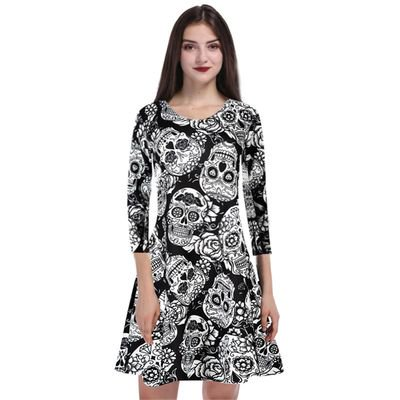 Yves Halloween Woman's Fashion Personality Skull Print Round Neck Long Sleeve Print Holiday Performance Dress - Tv Personalities For Halloween