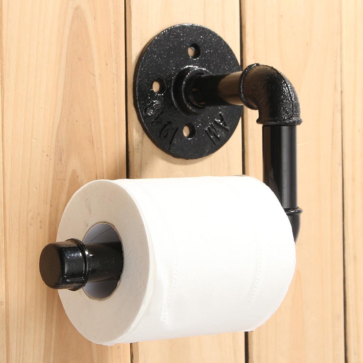 Diy Industrial Pipe Toilet Paper Tissue Holder Vintage Style Towel Racks With Hardware Wall Mount For Bathroom Bedroom Kitchen Black Walmart Com Walmart Com