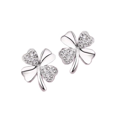 KABOER   2 Pairs Four Leaf Clover Lucky Gemstone stud earrings Classic Jewelry for Women and Girls