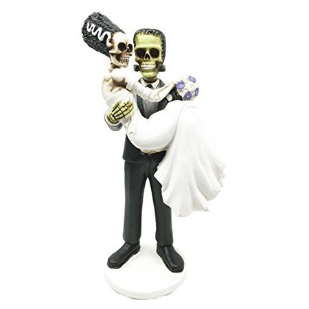 Day Of The Dead Wedding Skeleton Frankenstein Skull Bride And Groom Couple Figurine Dia De Muertos Sculpture Gift