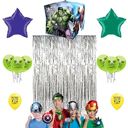 Avengers Incredible Hulk Photo Booth Prop Kit Balloon Decoration - Hula Party Supplies