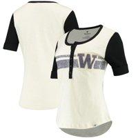 Washington Huskies Fanatics Branded Women's True Classics Drop Tail Henley T-Shirt - Cream/Black