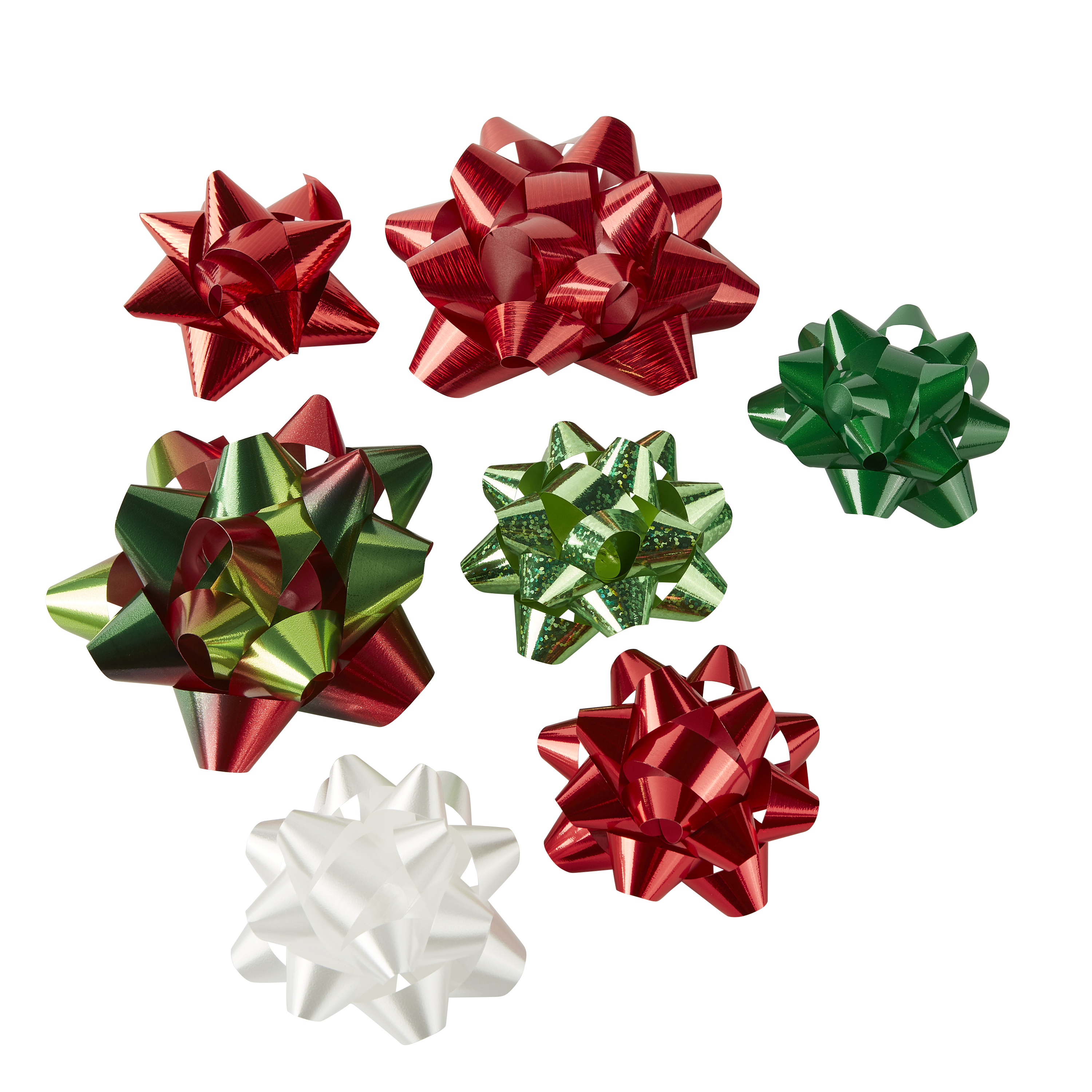 Holiday Time Assorted Red, White, Green Gift Bows, 20 count
