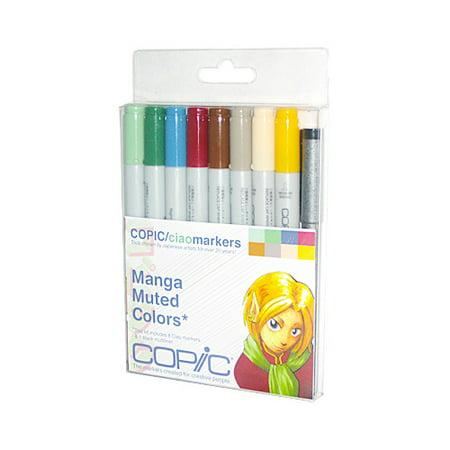 Copic Ciao Marker Set 8 Manga Muted Kit + 1 Multiliner (Copic Ciao Manga)