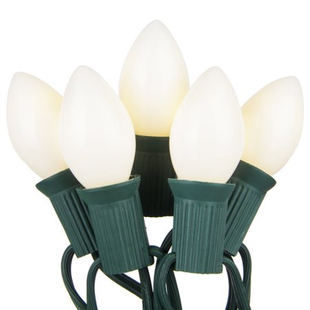 C7 White Opaque Steady 25 Light Set, Green Wire, 12 Spacing