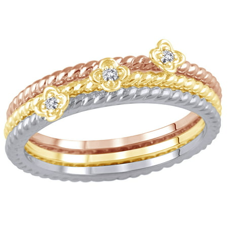 White Natural Diamond Accent Rope Textured Flower Stackable Three Ring Set in 10K Tri-Tone Solid Gold By Jewel Zone US