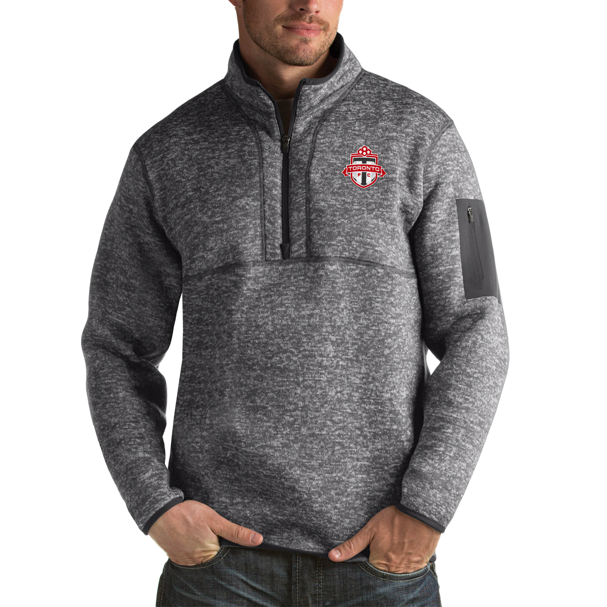 Toronto FC Antigua Fortune Quarter-Zip Pullover Jacket - Heather Black - S