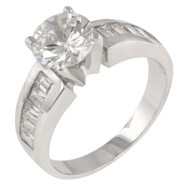 Kate Bissett R06884R-C01-10 Genuine Rhodium Plated Engagement Ring with Channel Set Baguette CZ and Round Cut Clear CZ