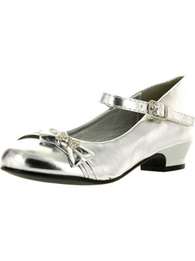 Lasonia Girls Mary Jane Shoes with Pretty Satin Rolled Rosettes Patent