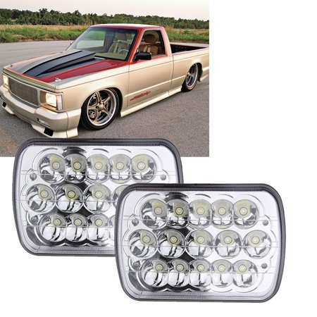 DOT APPROVED 45w Rectangle 5x7 7x6 Led Headlights Hi/Low Sealed Beam H4 PLUG H6054 H5054 6052 For Jeep Wrangler YJ Cherokee Xj Toyota pickup International Motorhome Truck, 2Pcs