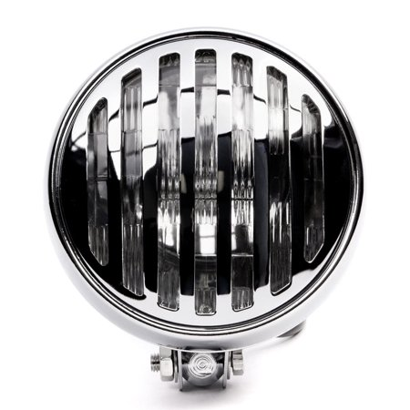"""Krator 6"""" Chrome Motorcycle Headlight with Grill High Low Beam Headlamp Bottom Mount for Harley Davidson Dyna Super Glide Sport - image 4 of 8"""