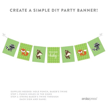 Woodland Forest Baby Shower Party Signs & Banner Decorations, - Owl Baby Shower Banner