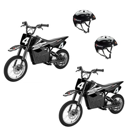 Razor MX650 Electric Dirt Rocket Motor Bikes for Teens 16+ (2 Pack) + Helmets (Razor Electric Bike Motor)