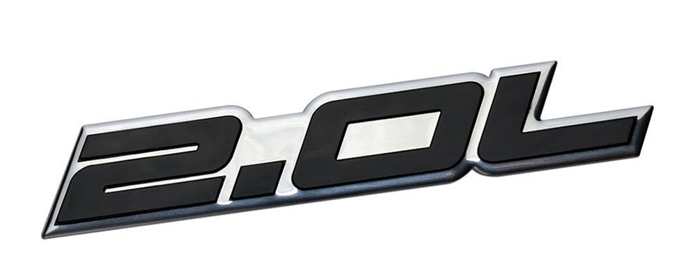 Aizfa 2.0L Liter Embossed SILVER on Black Highly Polished Silver Real Aluminum Auto Emblem Badge Nameplate