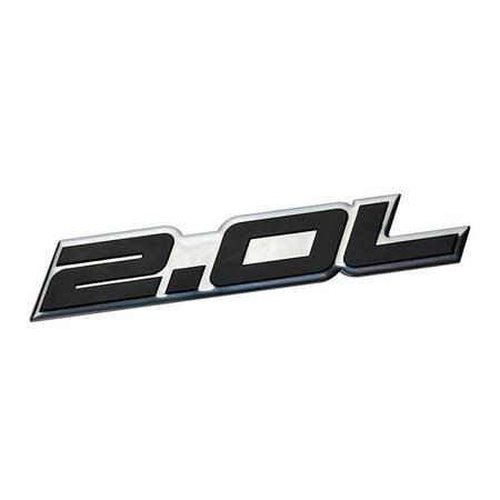 2.0L Liter Embossed BLACK on Highly Polished Silver Real Aluminum Auto Emblem Badge Nameplate for Honda LX EX CRV CR-V Del Sol S2000 Fit Acura Integra Nissan Sentra S SR (Del Sol Lx)