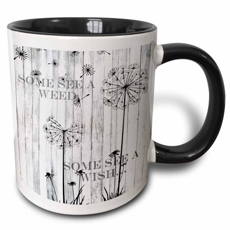 3dRose Some See A Weed Wish Quotes Saying Phrases Dandelion - Two Tone Black Mug, 11-ounce](Halloween Phrases Sayings)