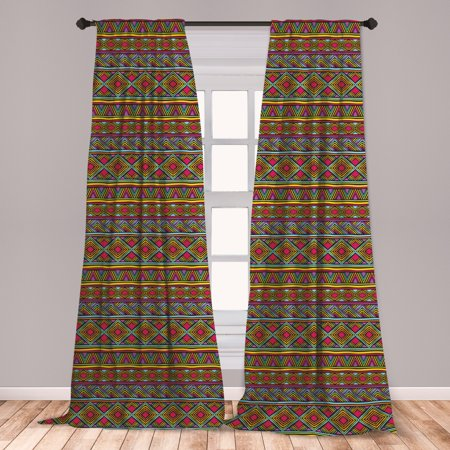 African Curtains 2 Panels Set, Colorful Diamond Motifs with Angled Lines Lively Palette Geometric Borders, Window Drapes for Living Room Bedroom, Multicolor, by Ambesonne