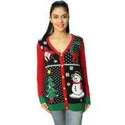 Ugly Christmas Sweater Women's Button Down Snowman Cardigan Sweater