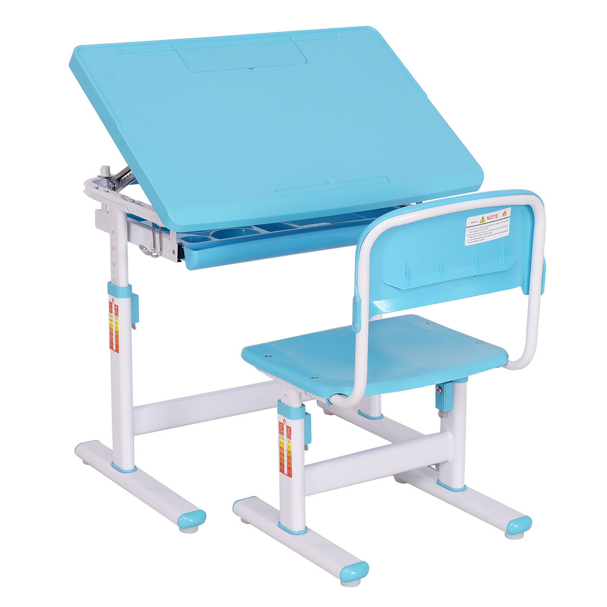 Costway Children Desk & Chair Set Height Adjustable Student Study Kids Work Station Blue