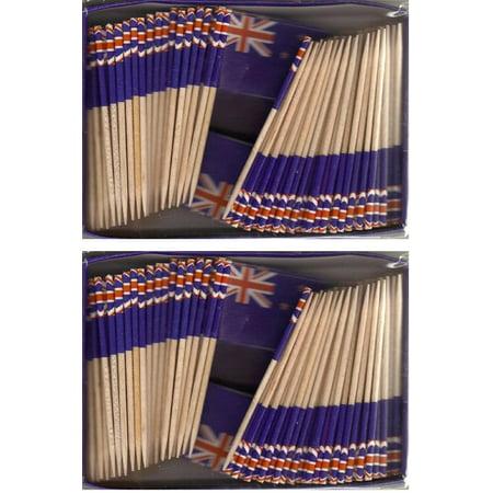 Flag Picks (2 Boxes of Mini New Zealand Toothpick Flags, 200 Small New Zealander Flag Toothpicks or Cocktail Sticks &)